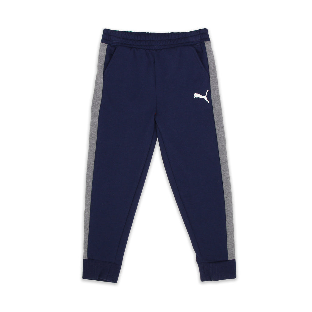 PUMA Little Boys matching bottoms joggers sweatpants Feature 2 Side Pockets and contrast color blocks on sides of legs