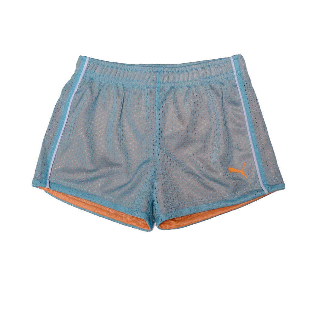 puma girls Workout Activewear Breathable Performance Shorts double mesh jersey fabric in light blue and orange color