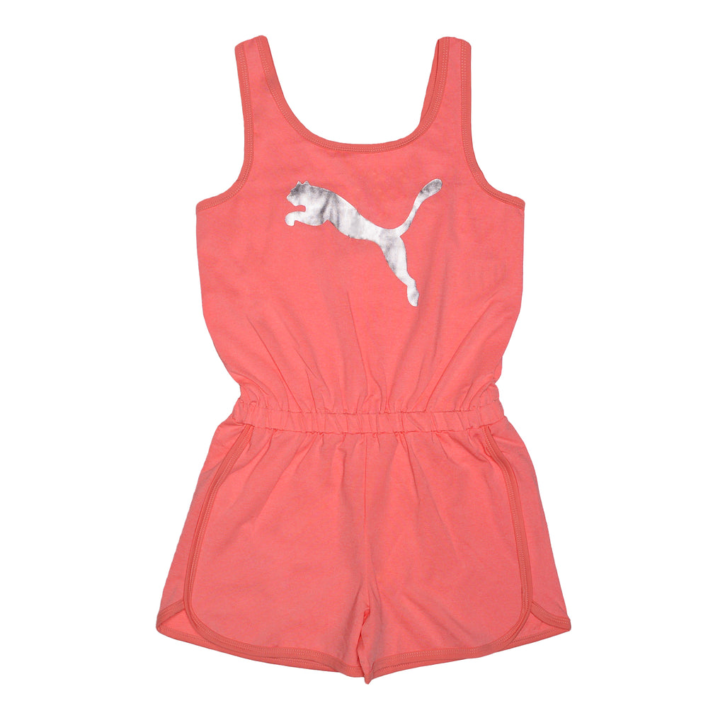 Girls pink coral sleeveless tank top romper short one piece with shiny silver PUMA big cat logo on chest
