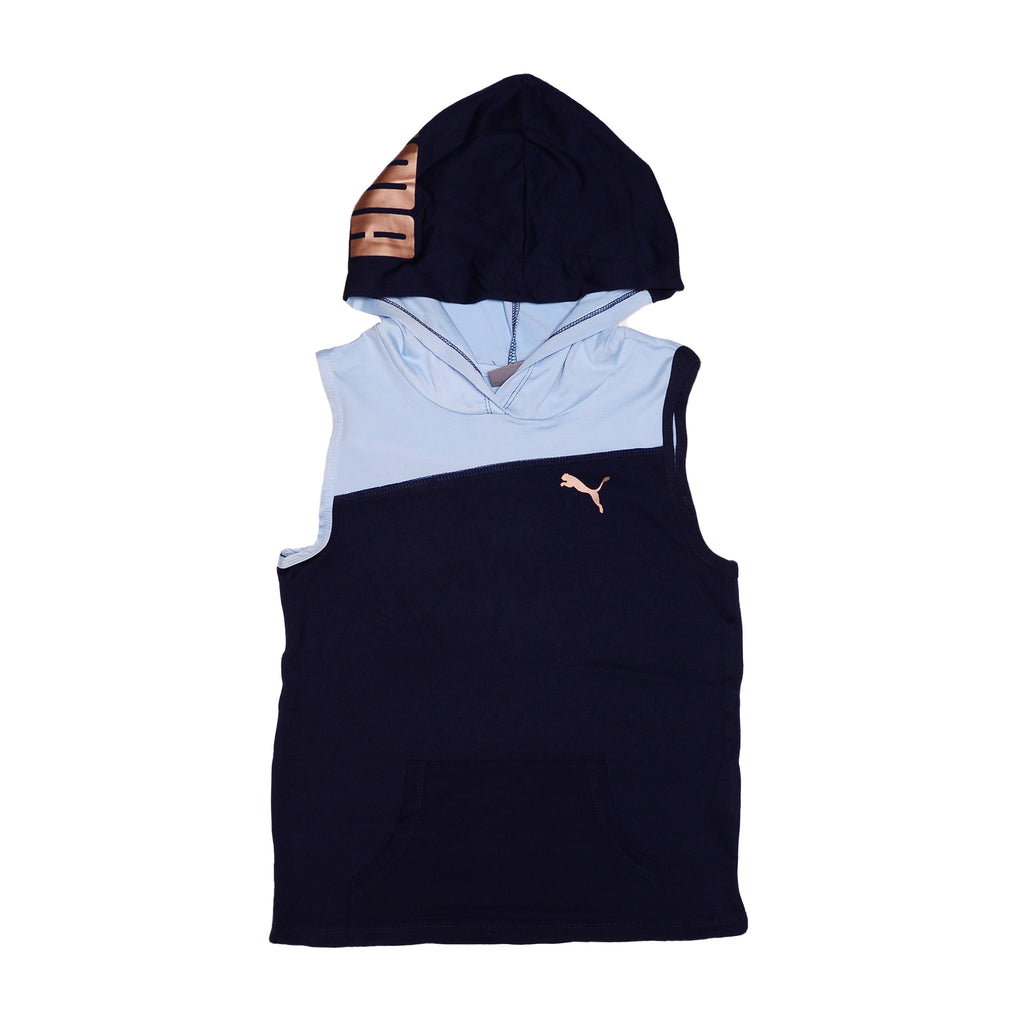 Girls navy blue sleeveless zipup hooded vest with light blue color contrast panel and white PUMA big cat logo on chest