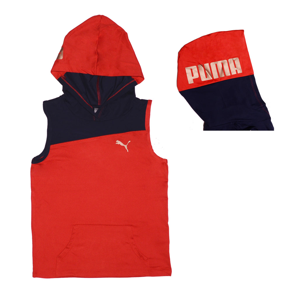 Girls red sleeveless zipup hooded vest with dark navy blue color panel and side view of hood with gold metallic PUMA logo