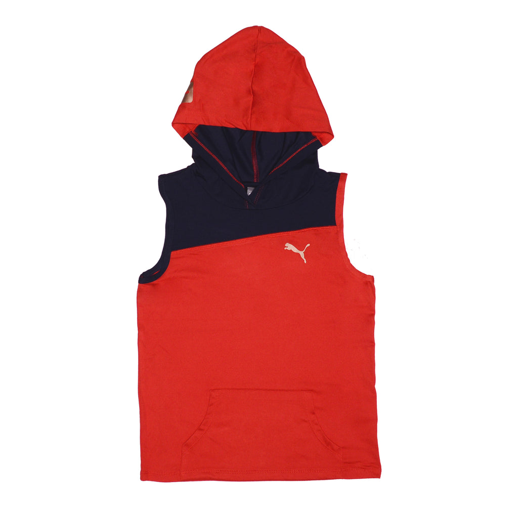 Girls red sleeveless zipup hooded vest with dark navy blue color contrast panel and white PUMA big cat logo on chest