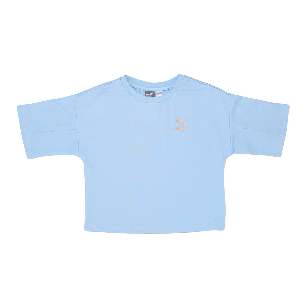 Girls PUMA oversized short sleeve crew neck crop top tee shirt in powder baby blue with PUMA big cat logo on chest