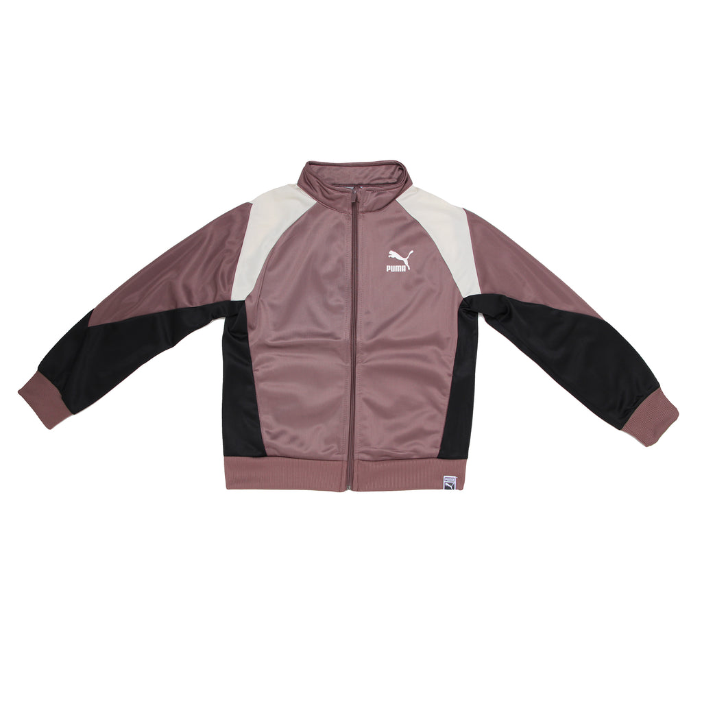 Girls PUMA long sleeve track jacket in smokey rose pale burgundy with black and white color accents and full zipper
