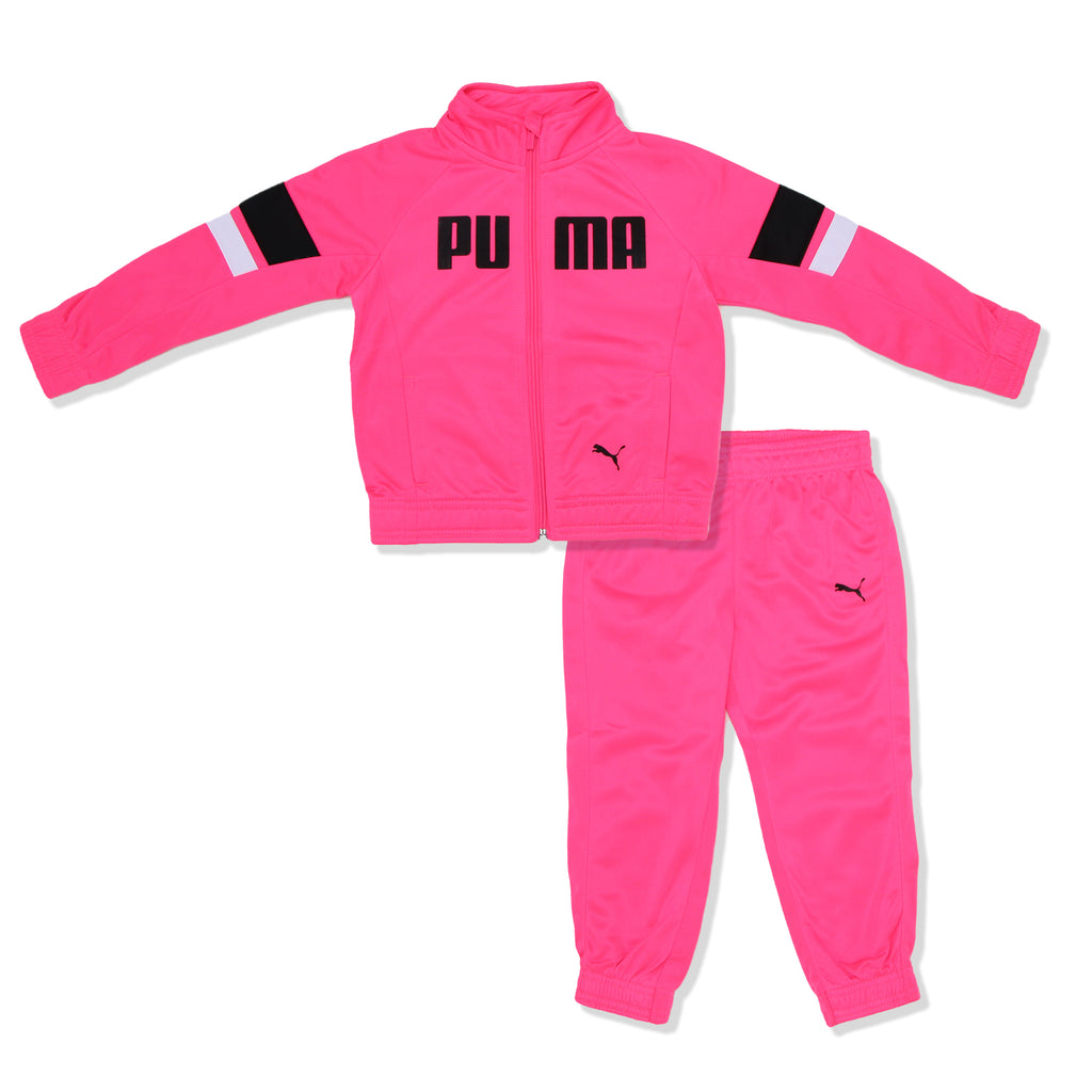 PUMA Toddler Girls Zip Up Neon Track Jacket Jogger two Piece Set in neon pink with Tri Color Designs and puma logos