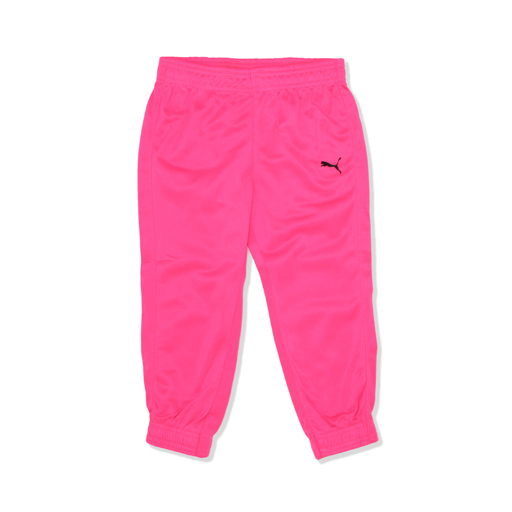 PUMA Toddler Girls matching pink Neon Track Jogger Pants with Elastic Cinch Cuffs And Hem and puma logo