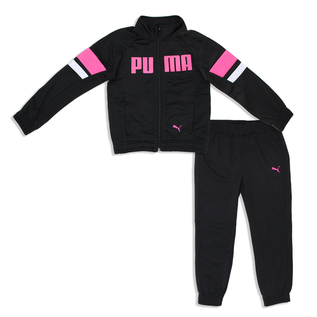 Little Girls PUMA two Piece Zip Up Track Jacket and matching Jogger Pant Track Set with pink logos and white and pink stripes on top