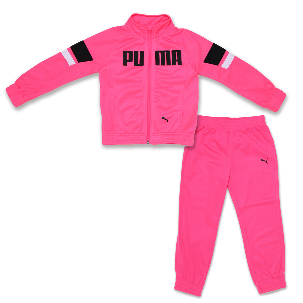 Little Girls PUMA two Piece Zip Up Track Jacket and matching Jogger Pant Track Set with black logos and white and black stripes on top