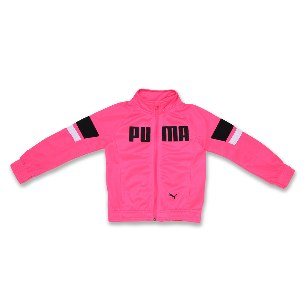 Little Girls PUMA Tricolor Sweatshirt Features PUMA Logo On Chest And Big Cat Logo On Front and two side pockets