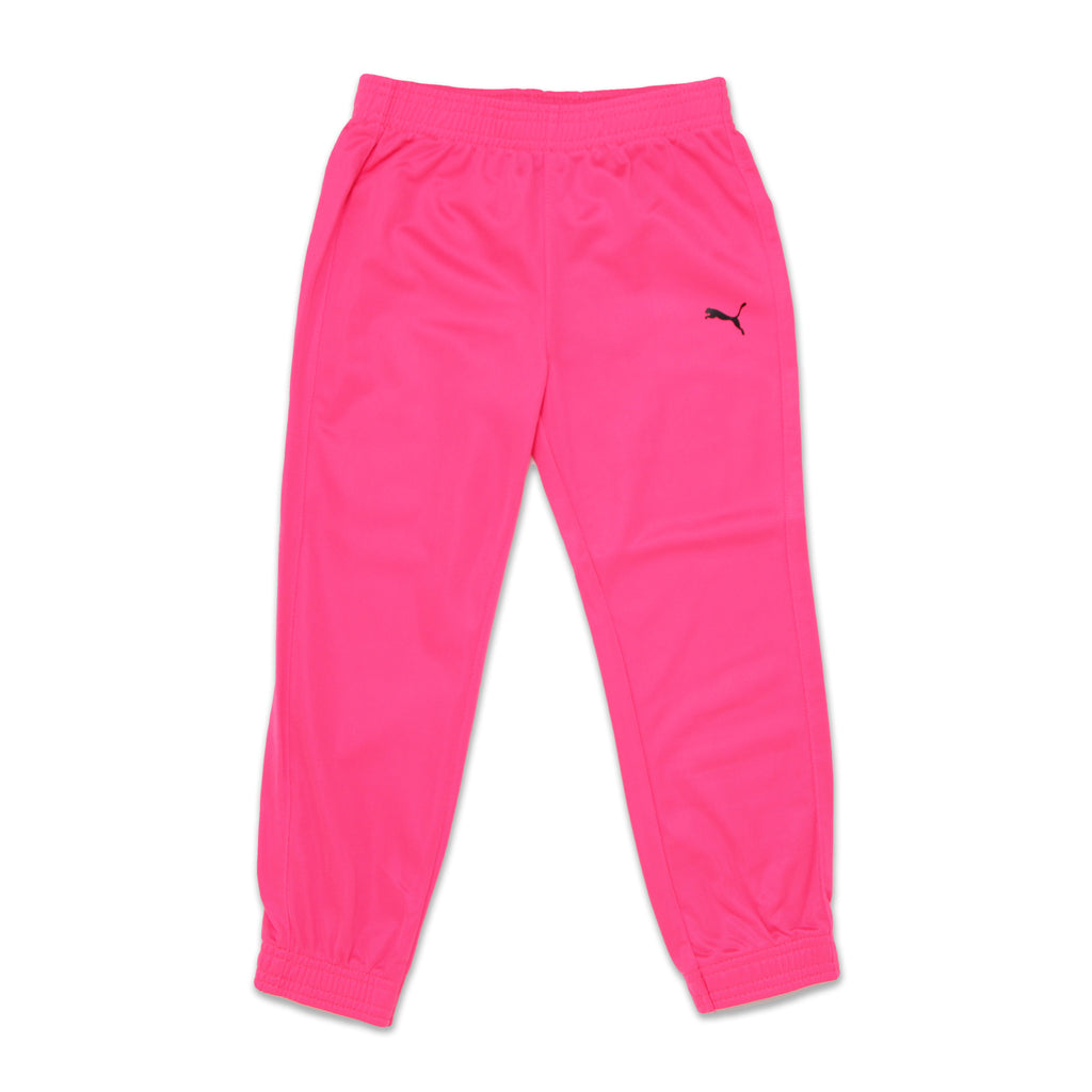Little Girls PUMA matching pants track joggers in black with small retro puma logo in pink also Feature Elastic Waistband