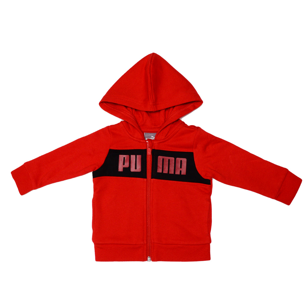 Puma boys 2 Piece Set Includes Full Zip Hooded Sweatshirt PUMA Block Letter Logo Across Chest Hoody Features Ribbed Cuffs And Hem in red and black