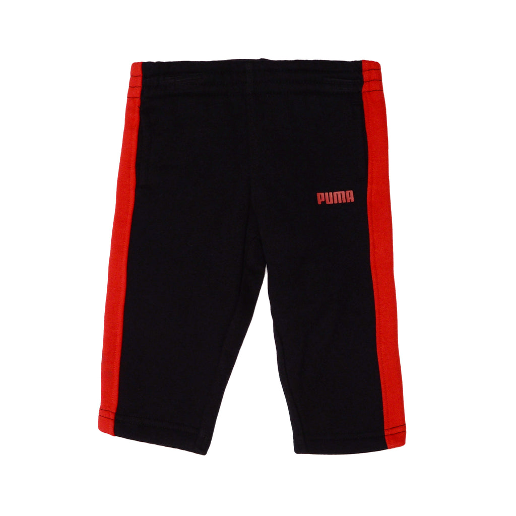 Puma boys track Pants Feature Elastic Waistband in black with red stripes on sides and small puma logo