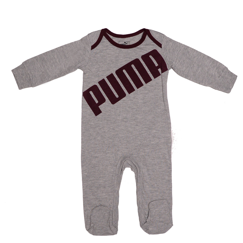 Baby boy longsleeve long pant leg footed onesie coverall bodysuit footie in light grey with black puma block letter logo