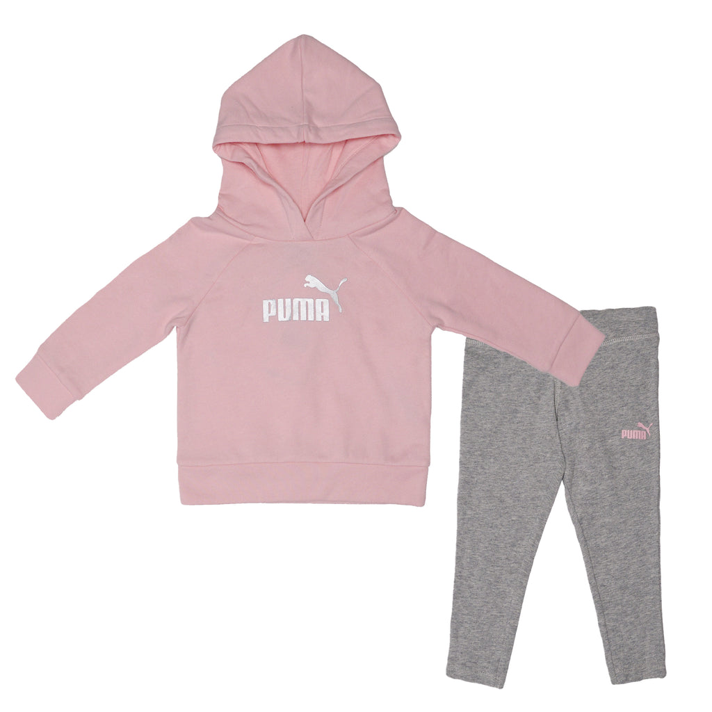 PUMA Baby Girls 2 Piece Athletic Pullover Hoodie Legging Pant Set Long Sleeve Fleece Hoody Features Ribbed Sleeve Cuffs And Hem and matching bottoms