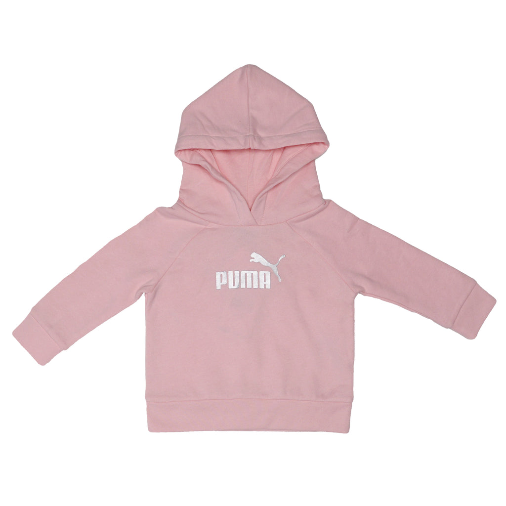 PUMA Baby Girls Pink Athletic Pullover Hoodie Features Metallic PUMA Big Cat Logo On Chest