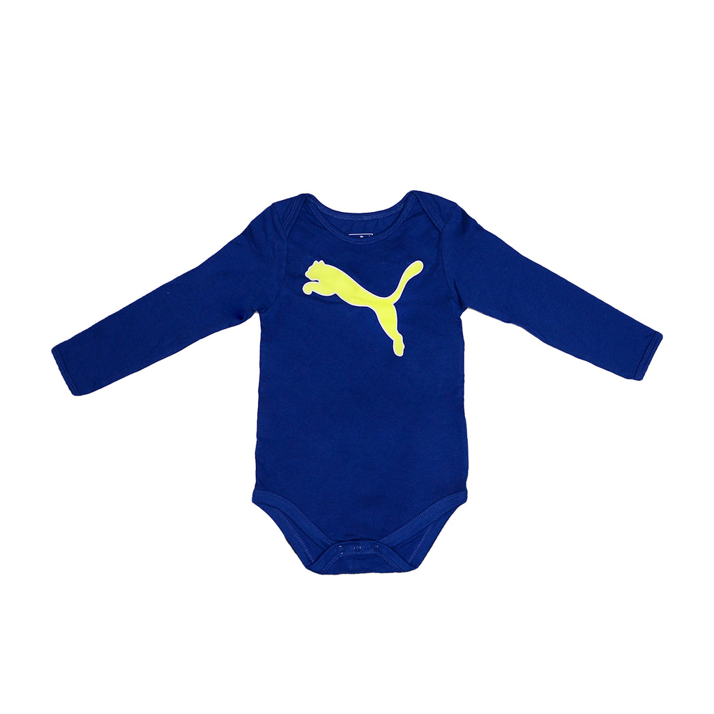 Baby boys PUMA dark navy blue longsleeve onesie bodysuit with snap button bottoms and neon yellow big cat logo on chest