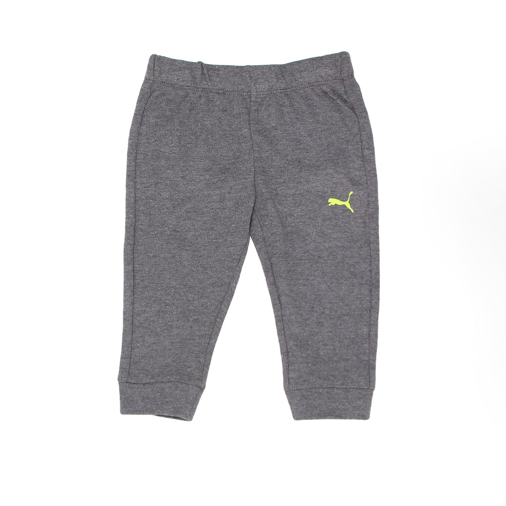 Baby boys PUMA heather grey jogger sweat pants with neon yellow big cat logo on leg