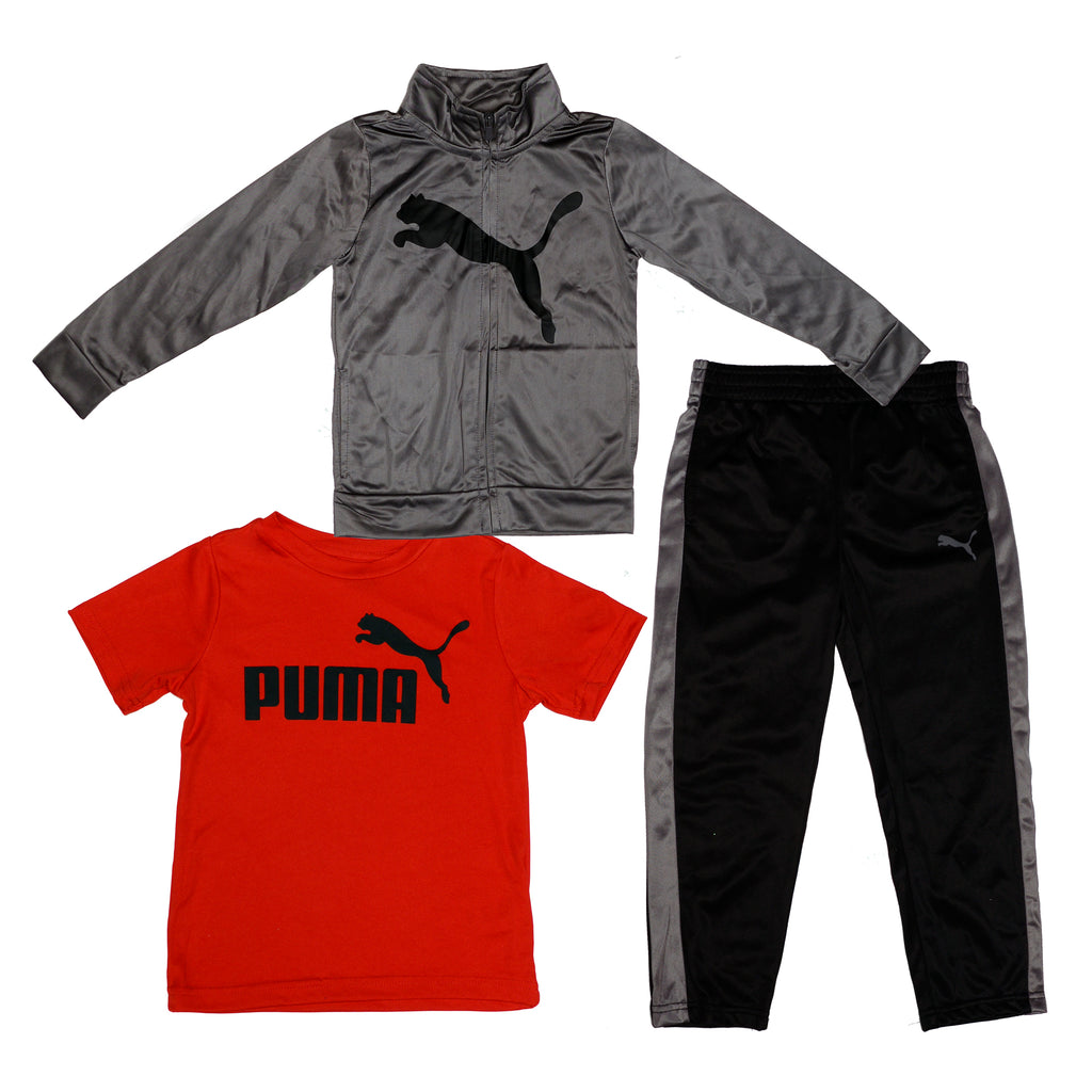Boys three piece set with longsleeve silver grey zipup track jacket shortsleeve red graphic tee shirt and black track pants