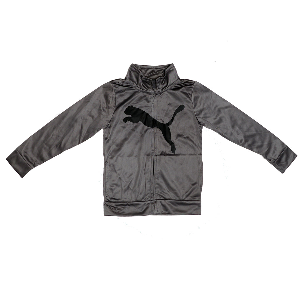 Boys dark silver grey long sleeve track jacket sweater with full front zipper and black PUMA big cat logo across chest