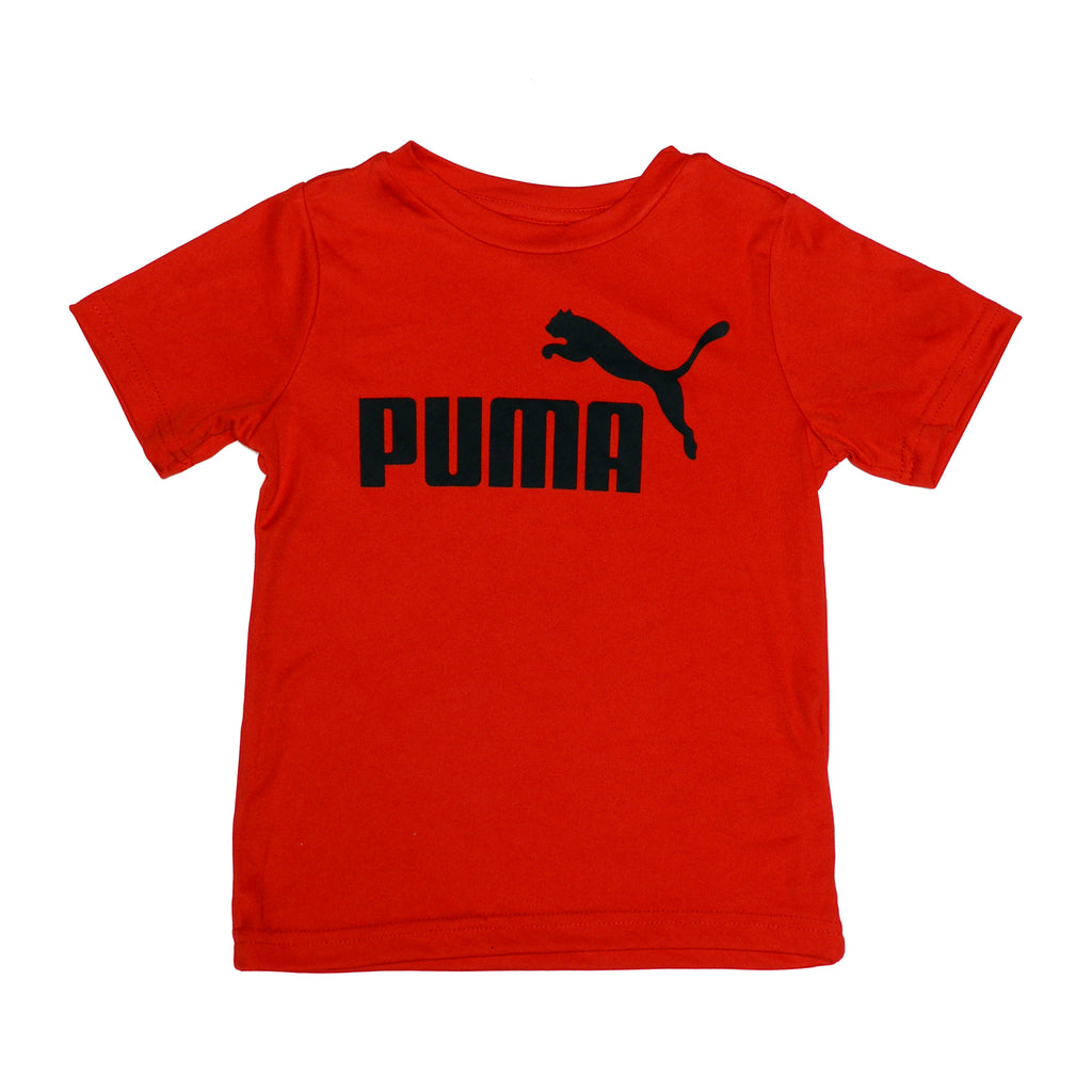 Boys shortsleeve red crewneck graphic tee shirt with black PUMA big cat logo across chest