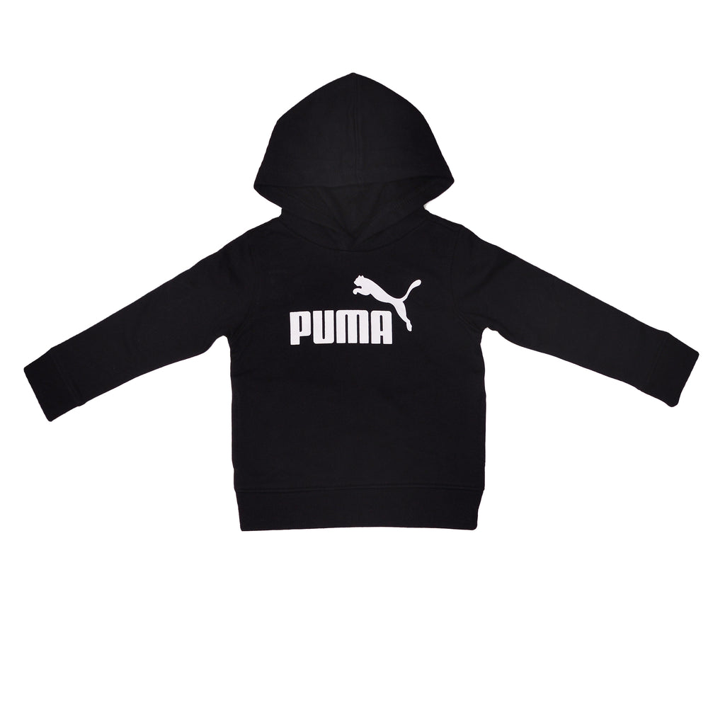 Baby toddler boys PUMA solid black hooded pullover hoodie sweatshirt with white logo across chest