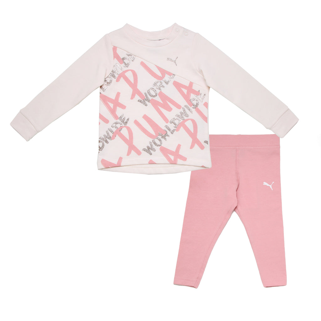Baby girls PUMA 2 piece set with light pink crewneck longsleeve sweater shirt and matching athletic stretch legging pants