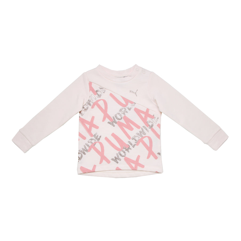 Baby girls PUMA light pink crew neck long sleeve sweater with diagonal chest panel with PUMA worldwide verbiage and logo