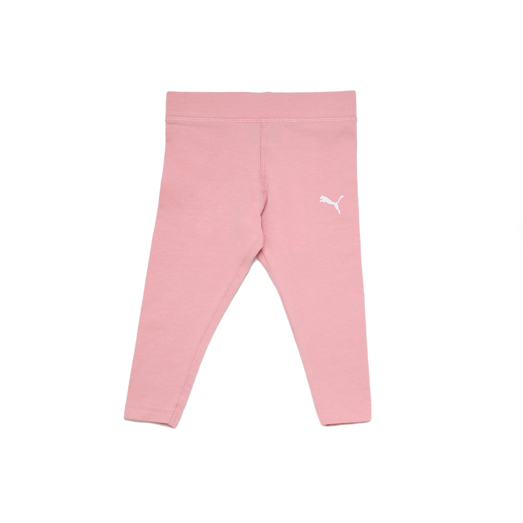 Baby girls PUMA rose pink stretch workout athletic legging pants bottoms with big cat logo on leg and wide waistband