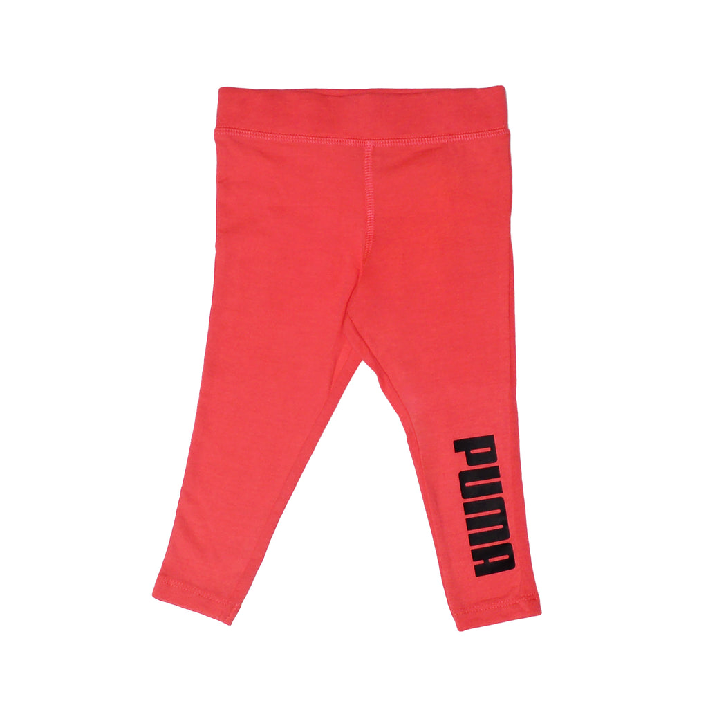 Baby girls PUMA bright pink athletic legging pant bottoms with black logo on leg part of a set of two