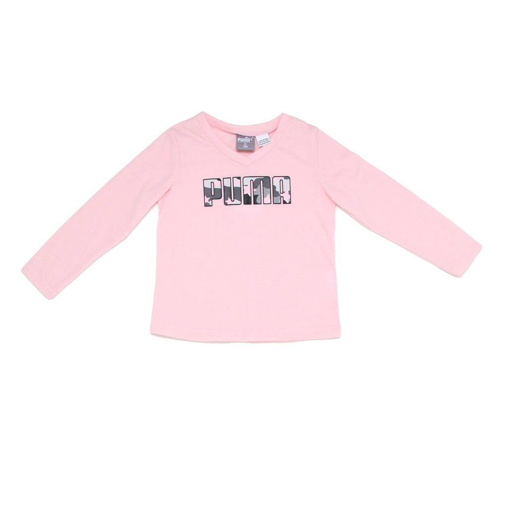 Baby girls PUMA pink longsleeve v neck performance tee shirt top with PUMA logo across chest in camo
