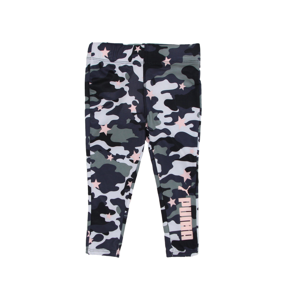 Baby girls PUMA performance leggings in allover camo camouflage print with pink stars and PUMA logo on leg