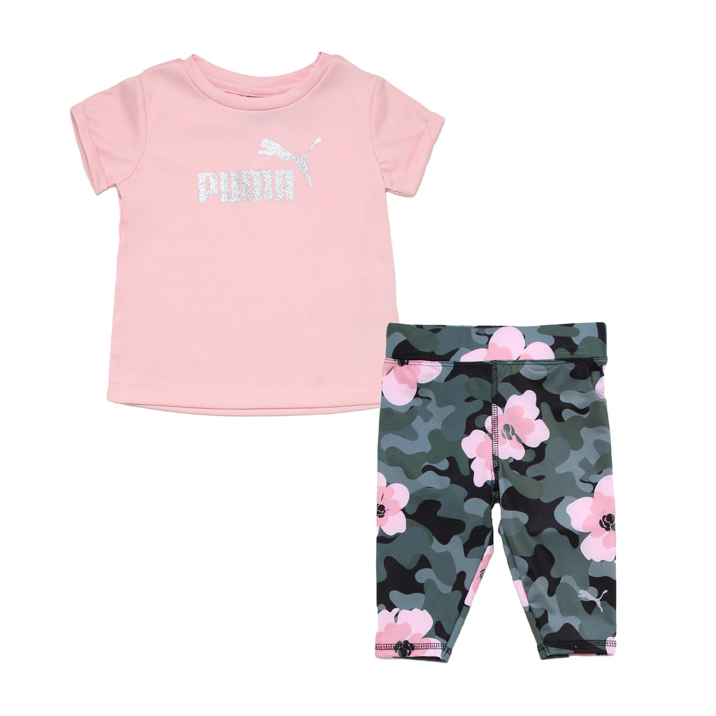 Baby girls PUMA 2 piece performance set with shortsleeve light pink tshirt with silver glitter graphic logo and legging pants