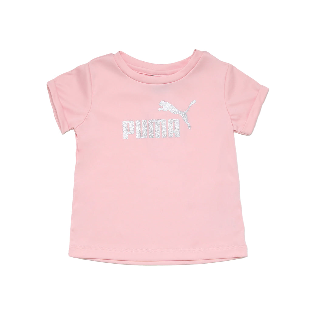 Baby girls PUMA light pink short sleeve crew neck tee shirt with metallic silver glitter shiny big cat logo on chest