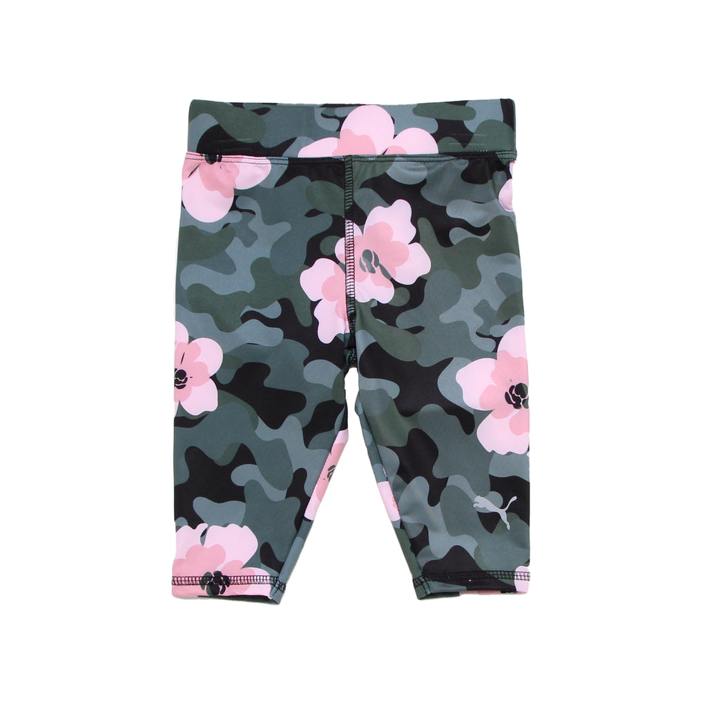 Baby girls camo PUMA black and grey camouflage stretch workout legging pants with pink flower design