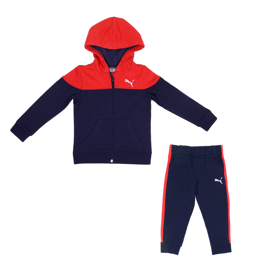 Toddler boys PUMA 2 piece set with longsleeve full zippered hoodie sweatshirt and matching jogger sweat pants in navy and red