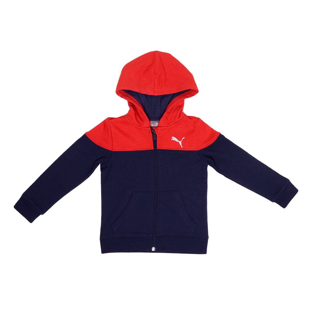 Toddler boys PUMA long sleeve full zippered hooded sweat shirt hoodie in navy blue and red panel constructed design