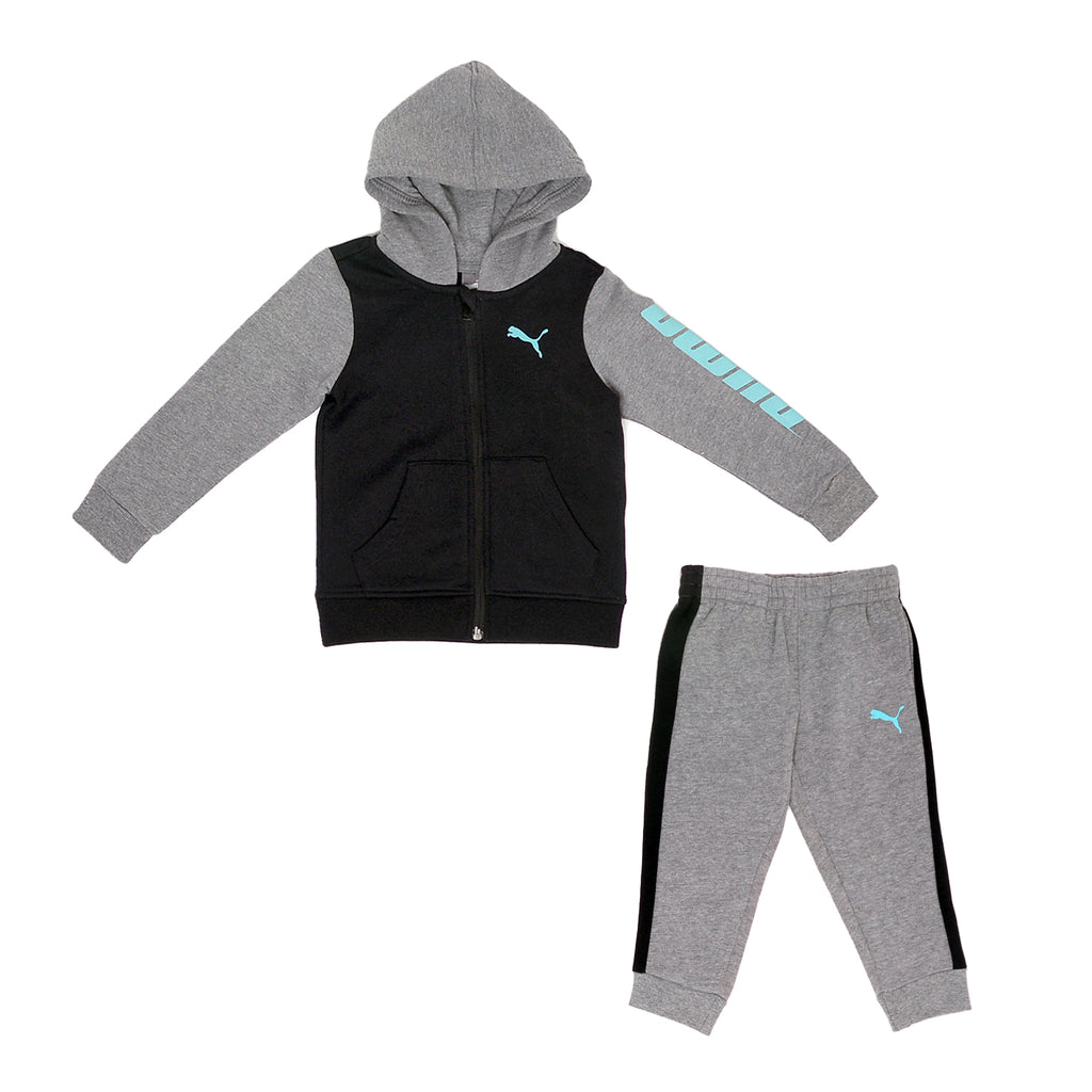 Toddler boys PUMA 2 piece set in black and grey with blue PUMA logo zippered hoodie sweatshirt and matching jogger sweatpants