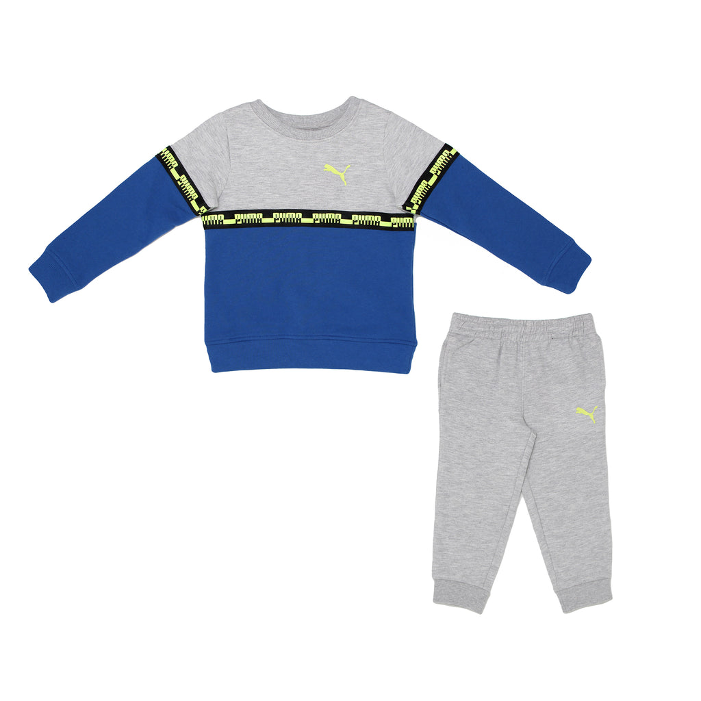 Toddler boys PUMA two piece sweatsuit set with pullover retro fashion grey blue crewneck sweatshirt and matching jogger pants