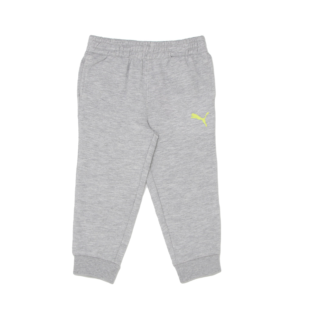 Toddler boys PUMA light heather grey jogger sweat pants with ribbed cinch bottom cuffs and covered elastic waistband