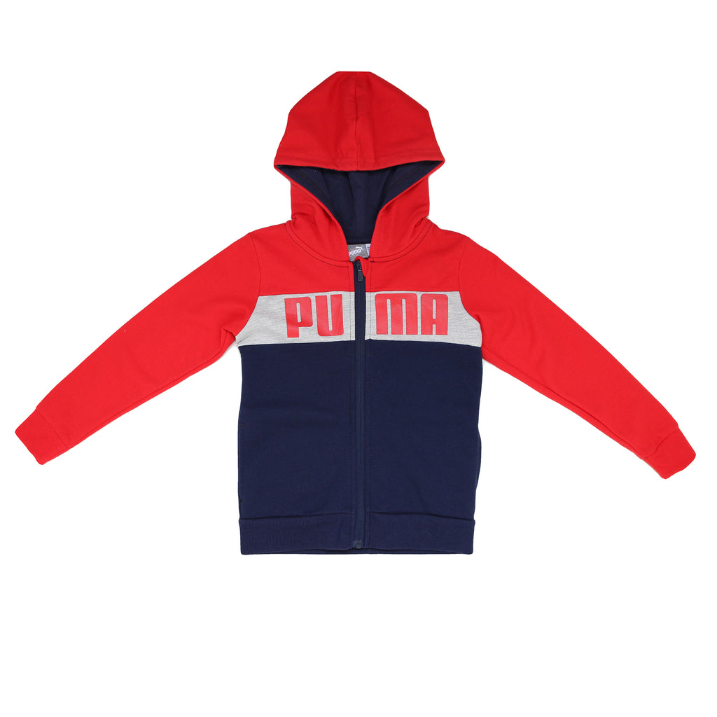 Boys PUMA red navy blue grey hooded long sleeve sweater hoodie sweatshirt with PUMA logo across chest
