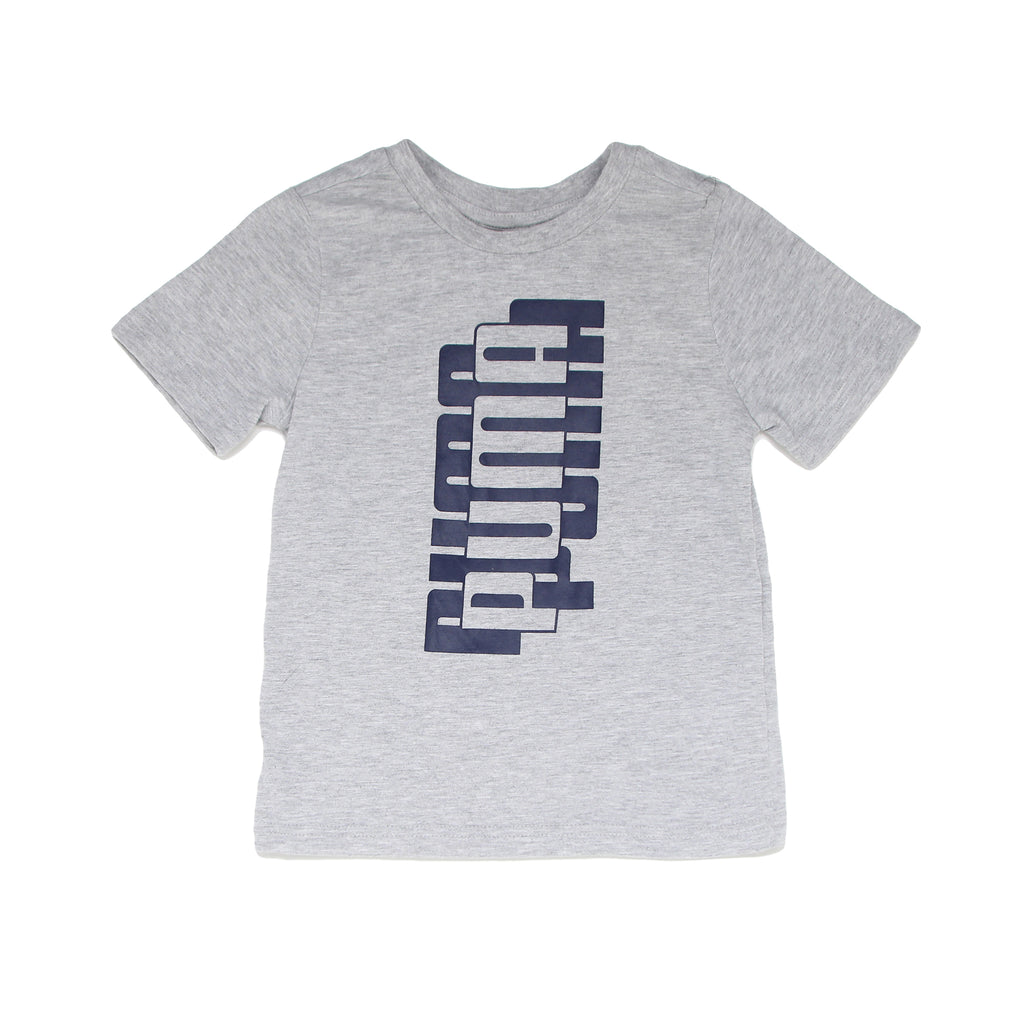 Boys PUMA short sleeve light heather grey graphic tee shirt with PUMA logo across chest