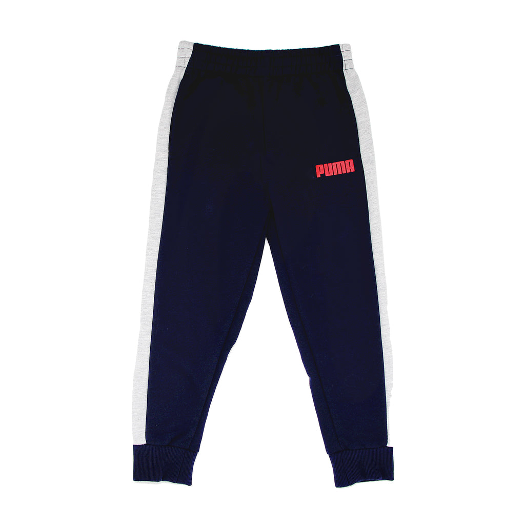 Boys PUMA dark navy blue track pants jogger sweatpants with white athletic stripe down side part of a three piece set