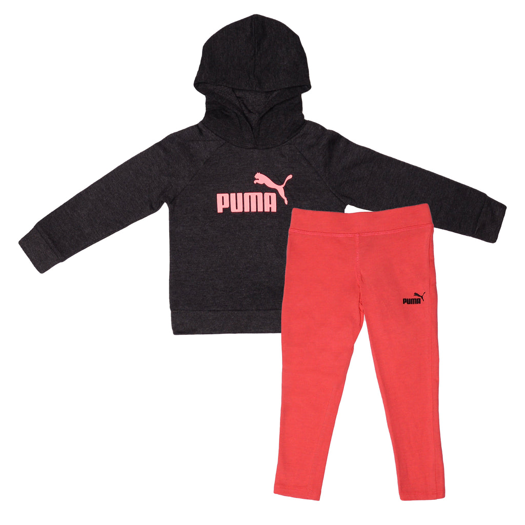 Puma Long Sleeve Pull Over Hooded Sweatshirt with pink verbiage And matching red stretchy Legging Pants