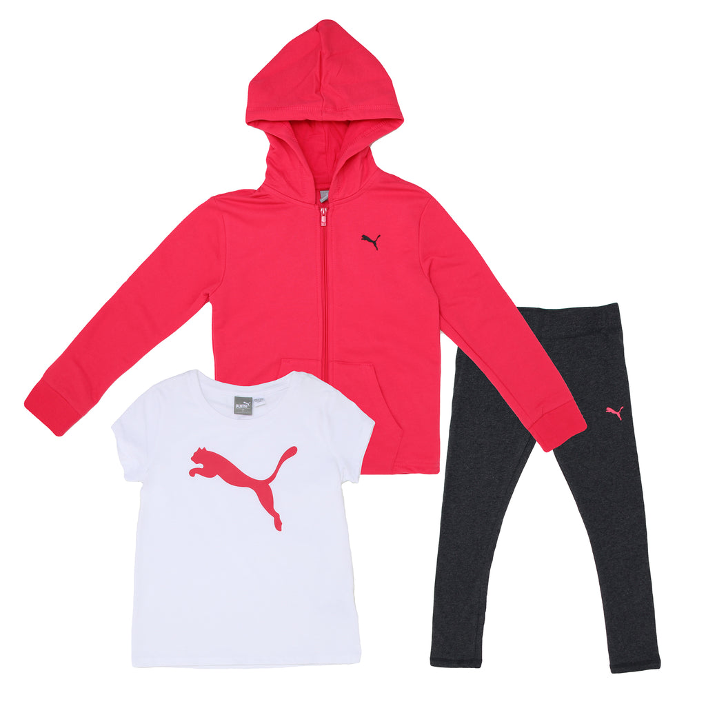 Girls PUMA three piece set with hot pink hooded sweatshirt shortsleeve graphic tee shirt and stretch legging pants