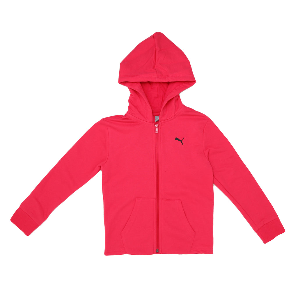 Girls PUMA hot pink long sleeve full front zippered zip up hoodie sweat shirt with black big cat logo on chest