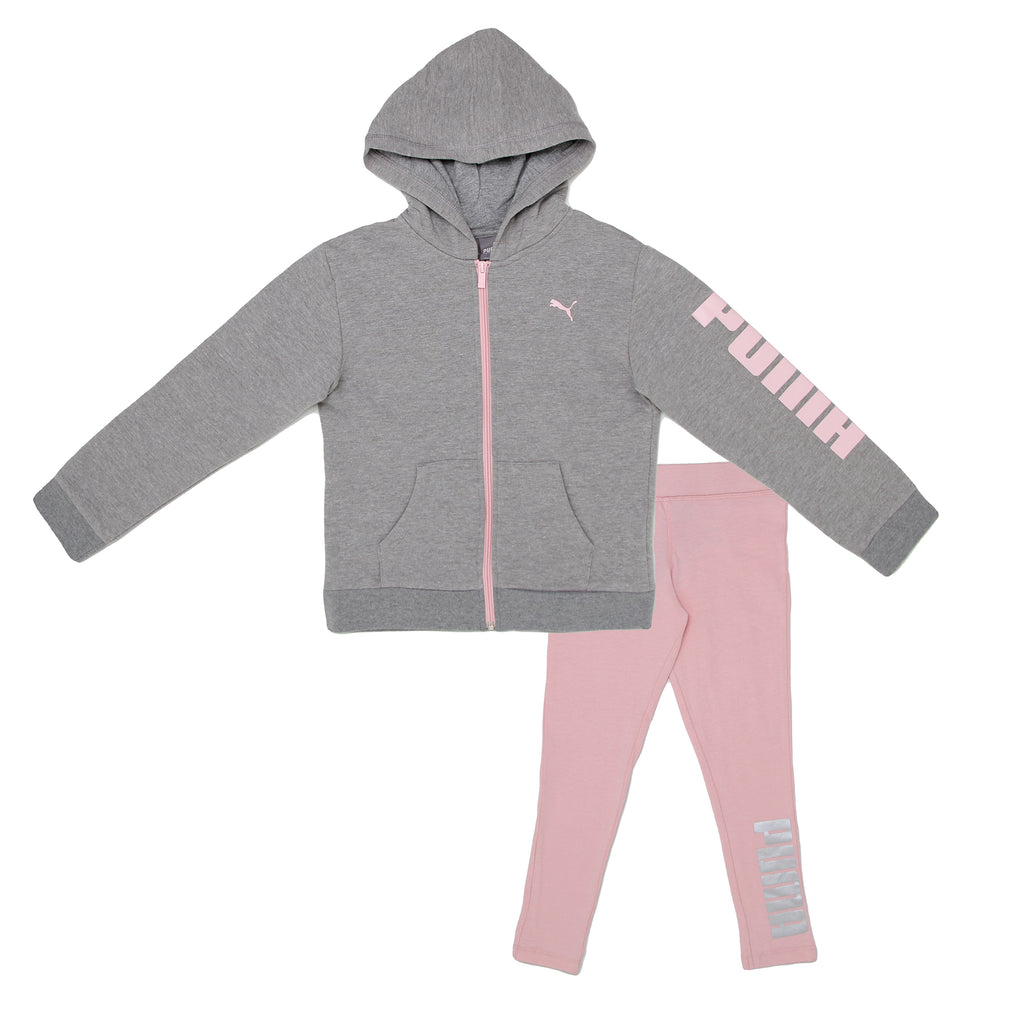 Little girls PUMA 2 piece set with grey longsleeve zipup zippered hoodie sweatshirt with pink logo and rose pink leggings