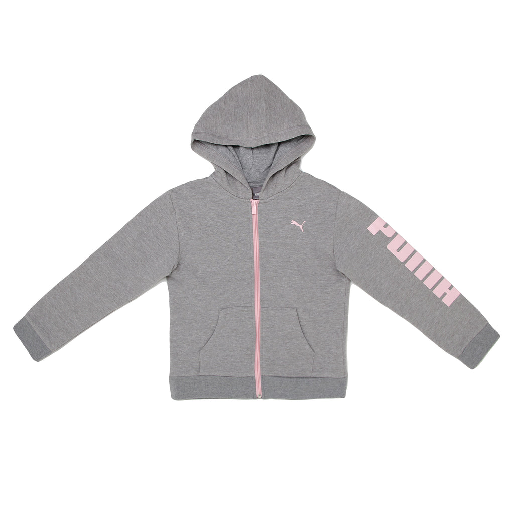 Little girls PUMA grey long sleeve zip up zippered hoodie sweat shirt with pink big cat logo and zipper track