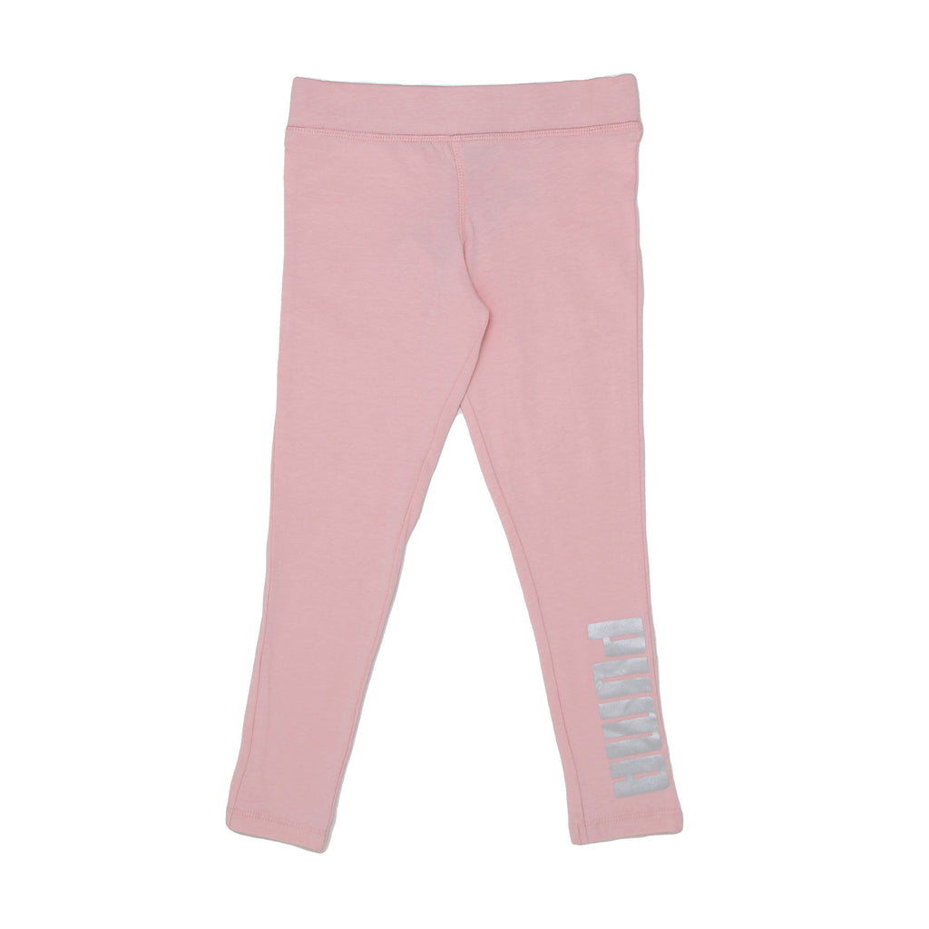 Little girls PUMA light rose pink stretch legging workout pant bottoms with metallic logo on leg part of a 2 piece set