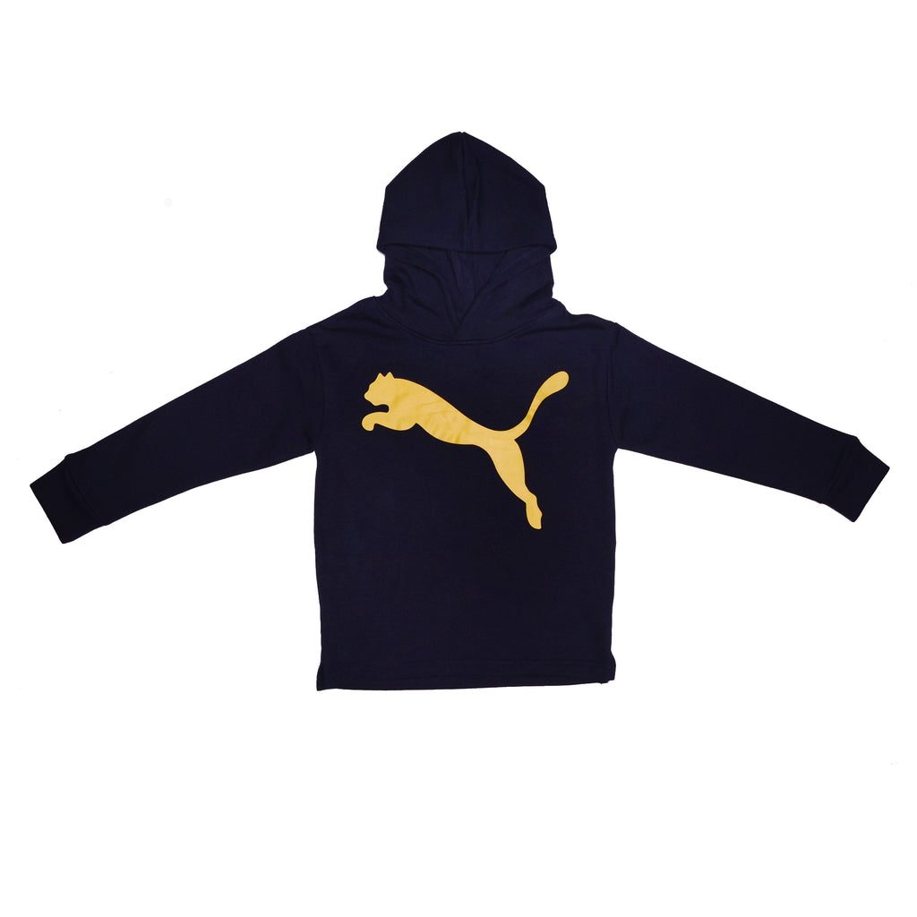 Boys black longsleeve hooded sweatshirt hoodie with kangaroo pocket and PUMA big cat logo across the chest in metallic gold