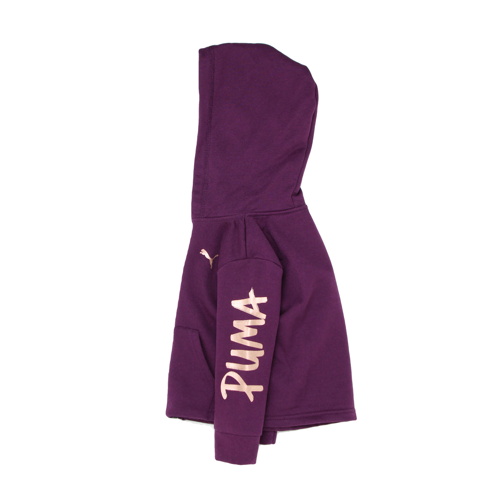 Side view of girls PUMA long sleeve burgundy hoodie sweatshirt with metallic rose gold PUMA big cat logo on chest and sleeve